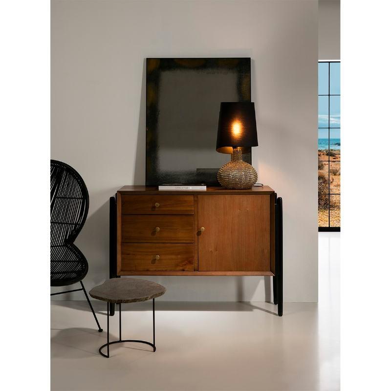 Buffet 1 porte 3 tiroirs 120x45x90 Bois Brun Noir - image 51361