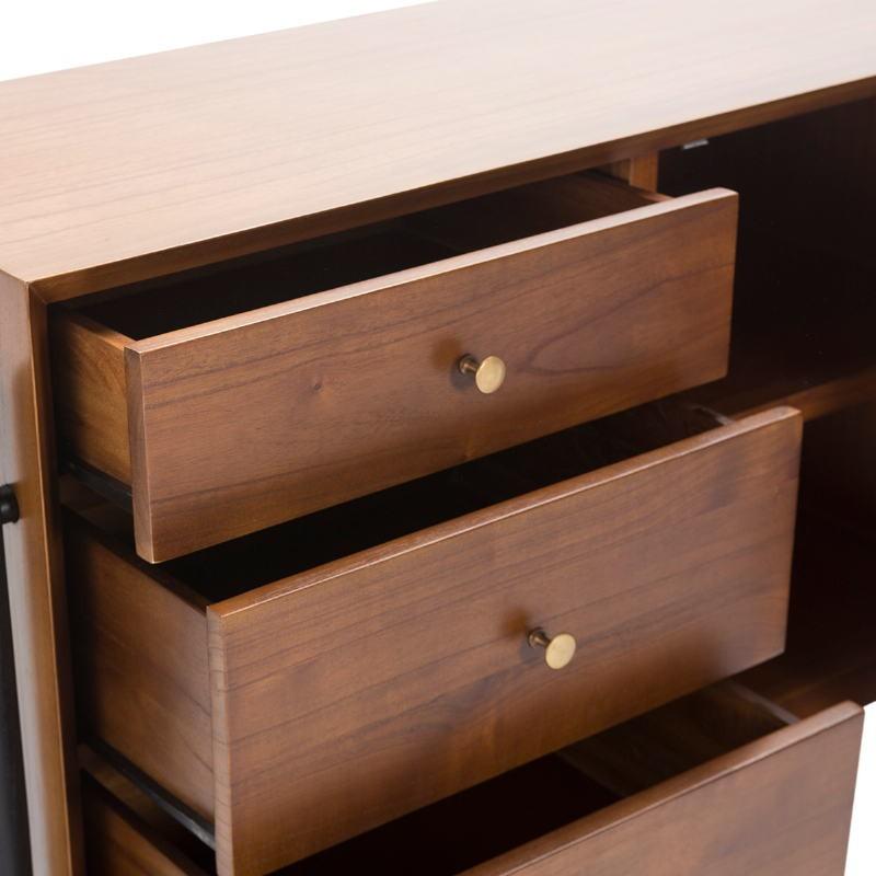 Sideboard 1 Door 3 Drawers 120X45X90 Wood Brown Black - image 51362