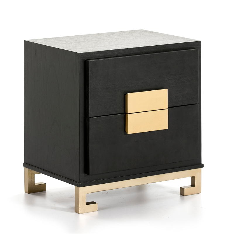 Nachttisch 2 Schubladen 56X41X60 Golden Black Wood