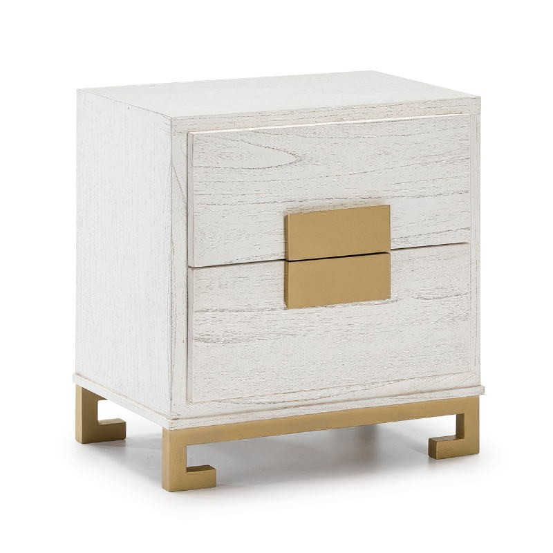 Bedside Table 2 Drawers 56X41X60 Wood White Golden