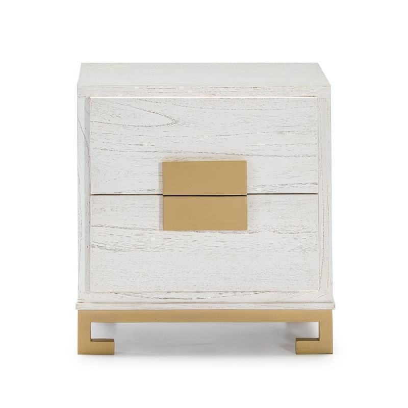 Bedside Table 2 Drawers 56X41X60 Wood White Golden - image 51371