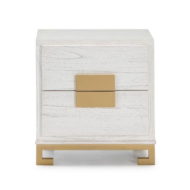 Table de chevet 2 tiroirs 56x41x60 Bois Blanc Doré - image 51371