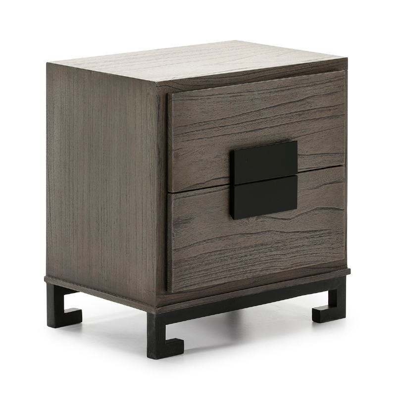 Bedside Table 2 Drawers 56X41X60 Wood Grey Black