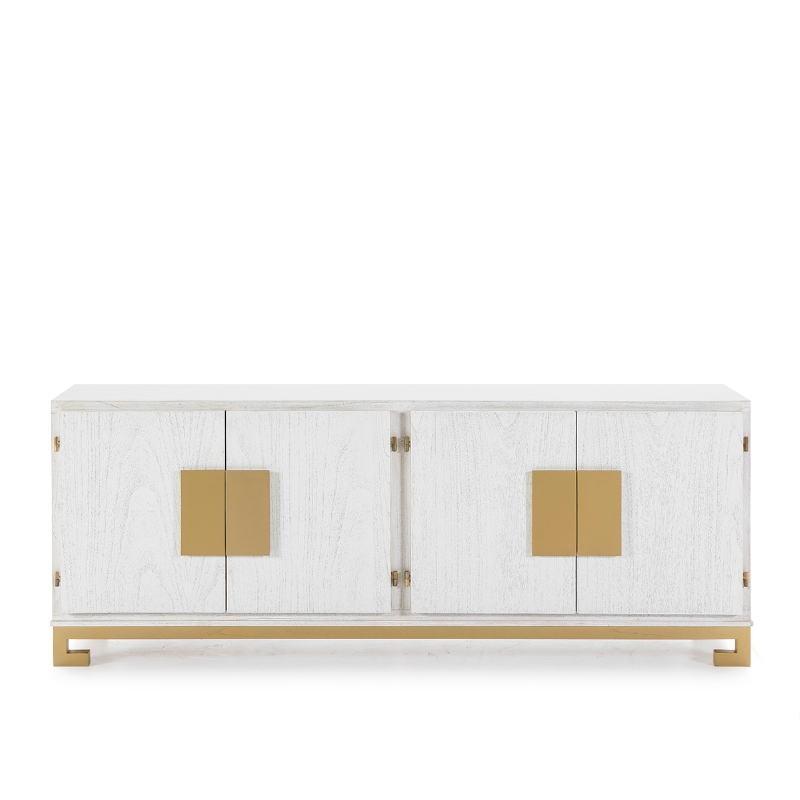 Sideboard 4 Doors 201X43X78 Wood White Golden - image 51382