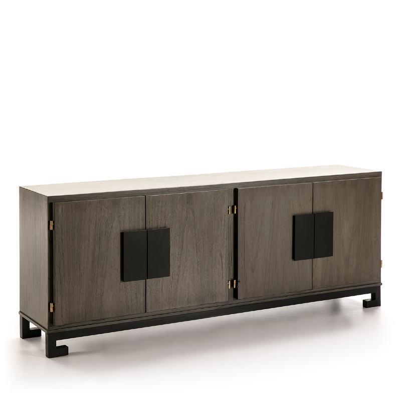 Sideboard 4 Doors 201X43X78 Wood Grey Black - image 51383