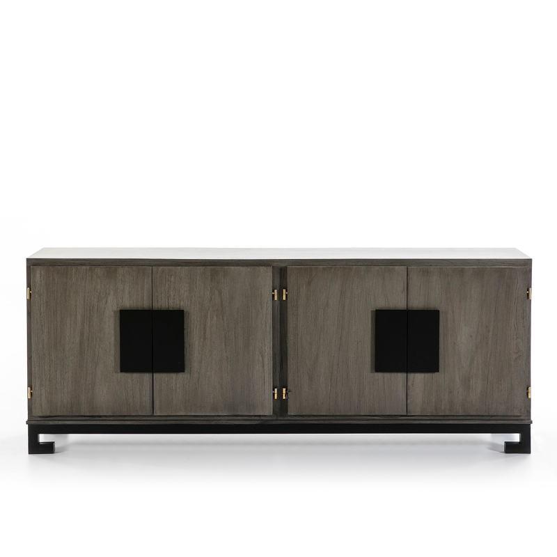 Sideboard 4 Doors 201X43X78 Wood Grey Black - image 51386