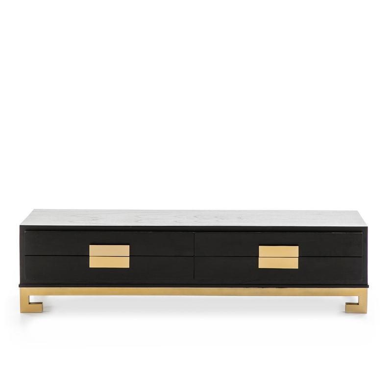 Tv Furniture 4 Drawers 161X45X45 Wood Black Golden - image 51390