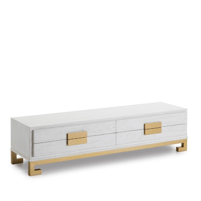 Tv Furniture 4 Drawers 161X45X45 Wood White Golden - image 51391