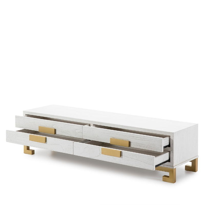 Tv Furniture 4 Drawers 161X45X45 Wood White Golden - image 51393