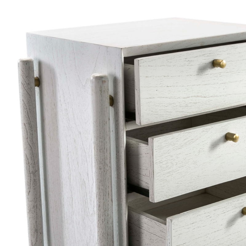 Bedside Table 3 Drawers 50X40X61 Wood White - image 51400