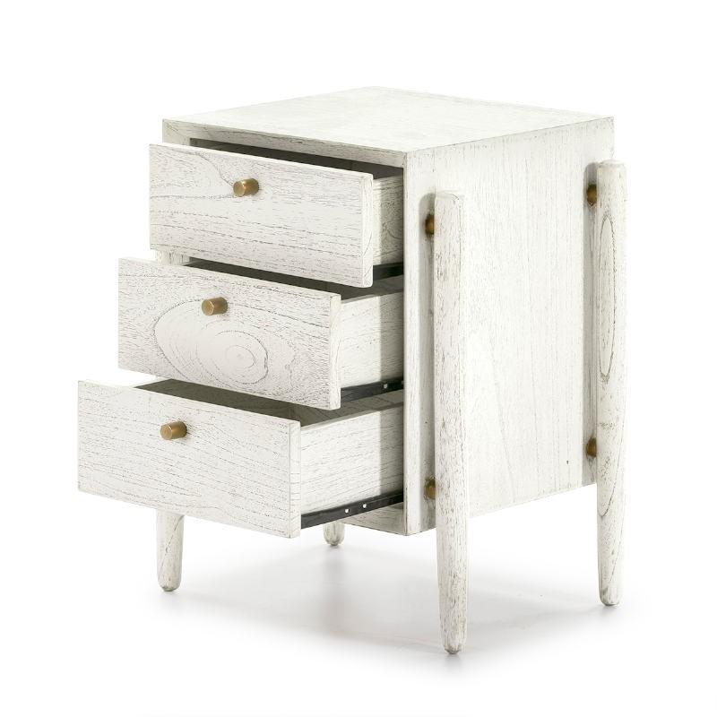 Nachttisch 3 Schubladen 50X40X61 Weißes Holz - image 51401