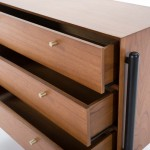 Commodes 3 tiroirs 125x45x90 Bois Brun Noir
