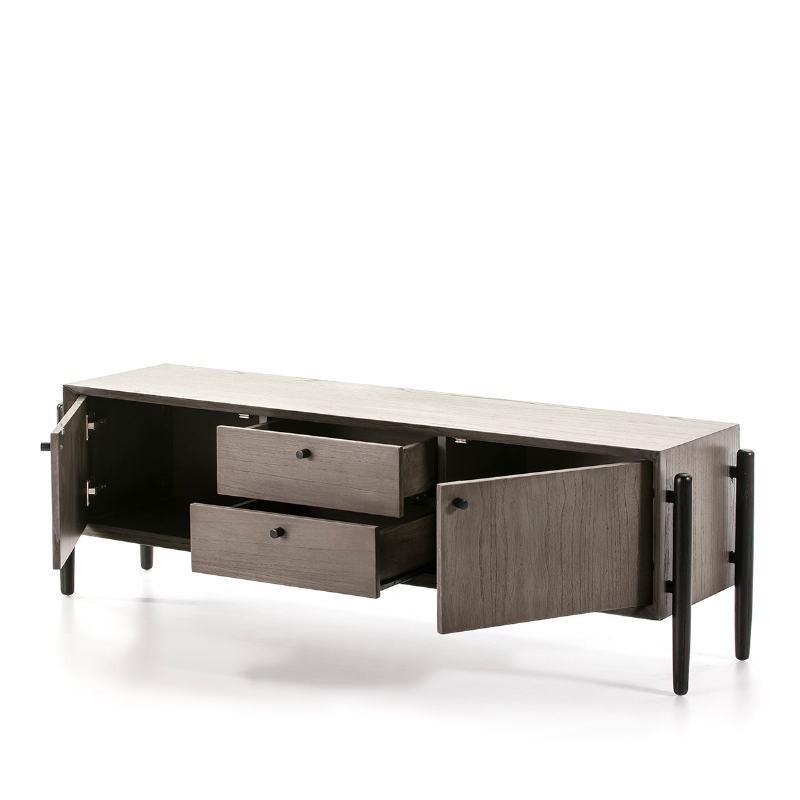 Meuble TV 2 portes 2 tiroirs 160x40x50 Bois Gris Noir - image 51409