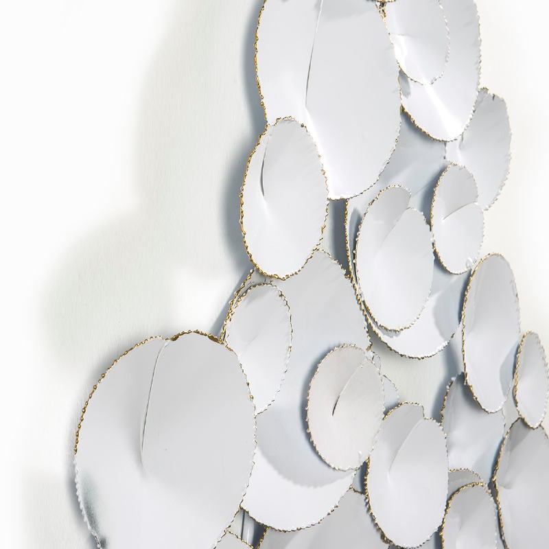 Wall Sculpture 101X9X71 Metal White Golden - image 51433