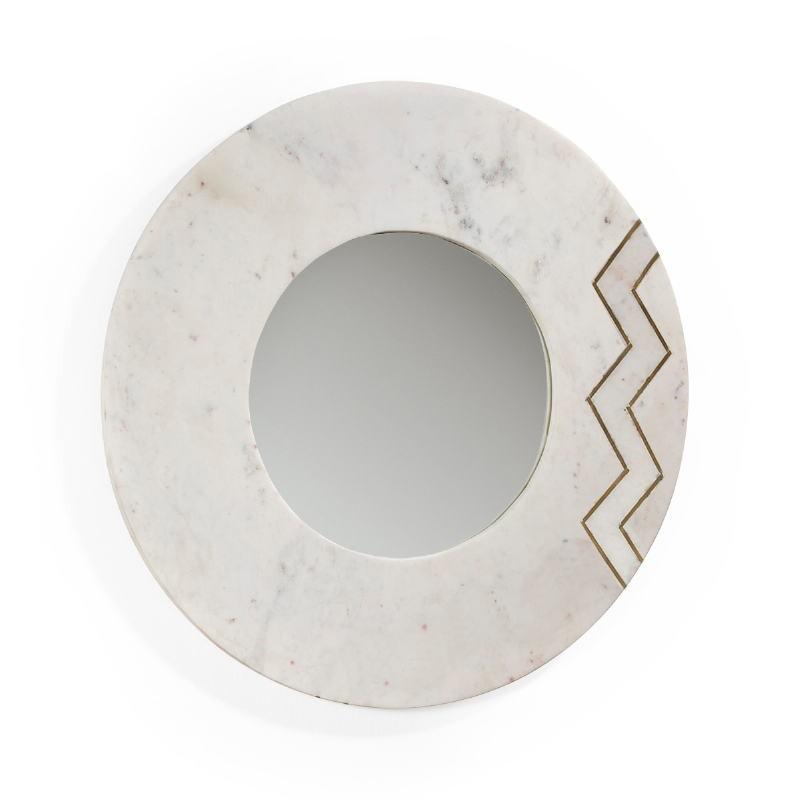 Spiegel 69X2X69 Glas/Marmor Weiß/Metall Golden
