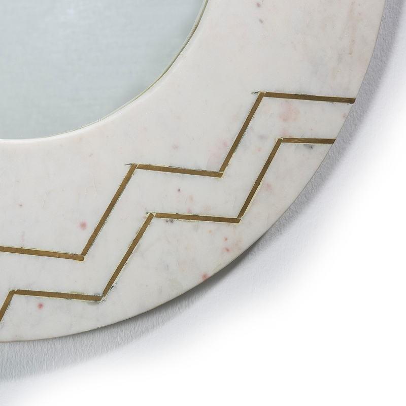 Spiegel 69X2X69 Glas/Marmor Weiß/Metall Golden - image 51437
