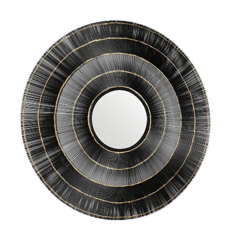 Specchio 114X2X114 Vetro Metallo Nero Dorato