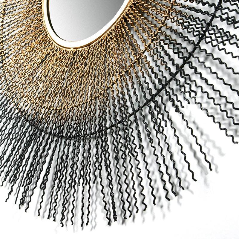 Mirror 96X9X96 Glass Metal Golden Black - image 51442