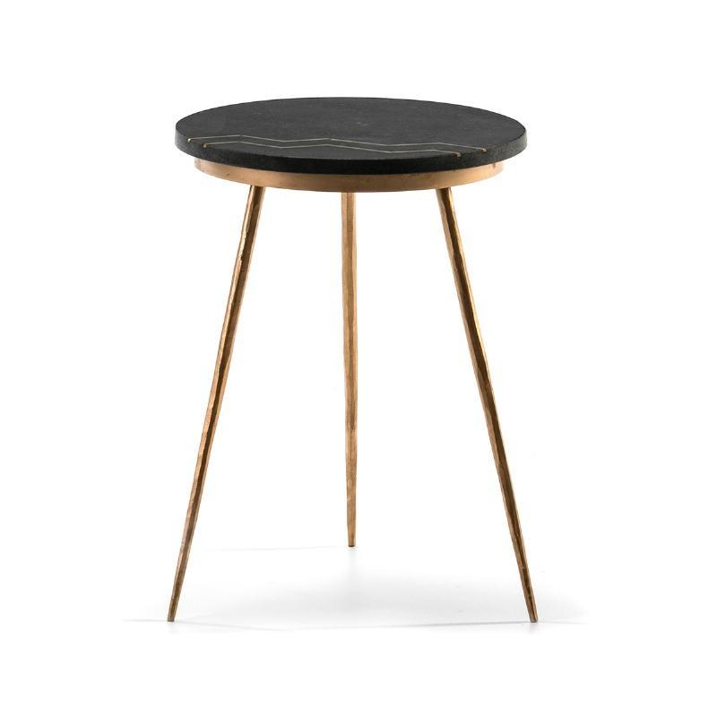 Side Table 37X37X50 Granite Black Metal Golden