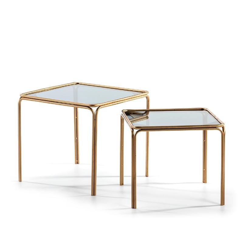Set 2 Table d'appoint, bout de canapé 51x51x47   46x46x41 Verre fumé Métal Doré