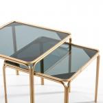 Set/2 Hilfstisch 51X51X47 / 46X46X41 Rauchglas/Metall Golden