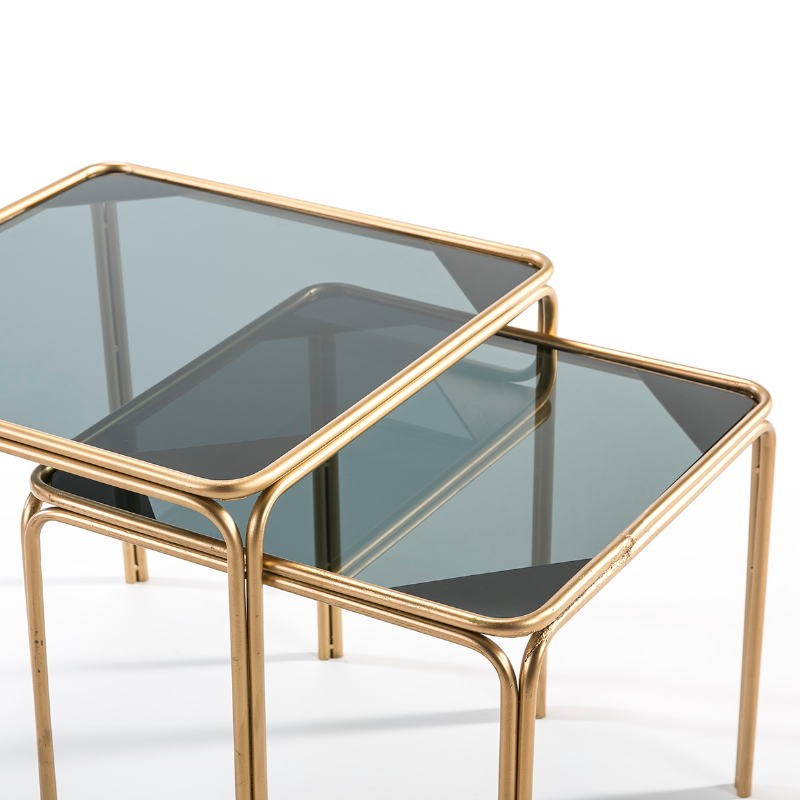 Set 2 Table d'appoint, bout de canapé 51x51x47   46x46x41 Verre fumé Métal Doré - image 51451
