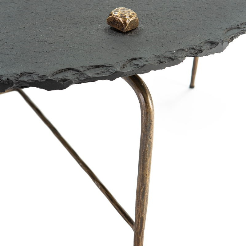 Coffee Table 92X92X40 Stone Black Metal Golden Antique - image 51455