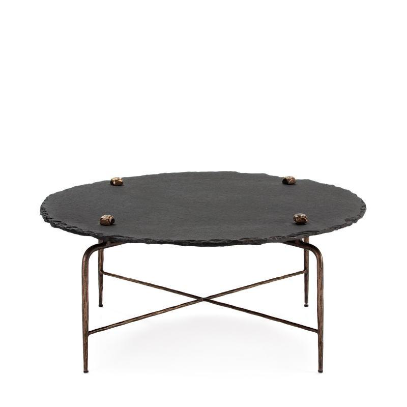 Table basse 92x92x40 Pierre Noir Métal Doré Antique - image 51456