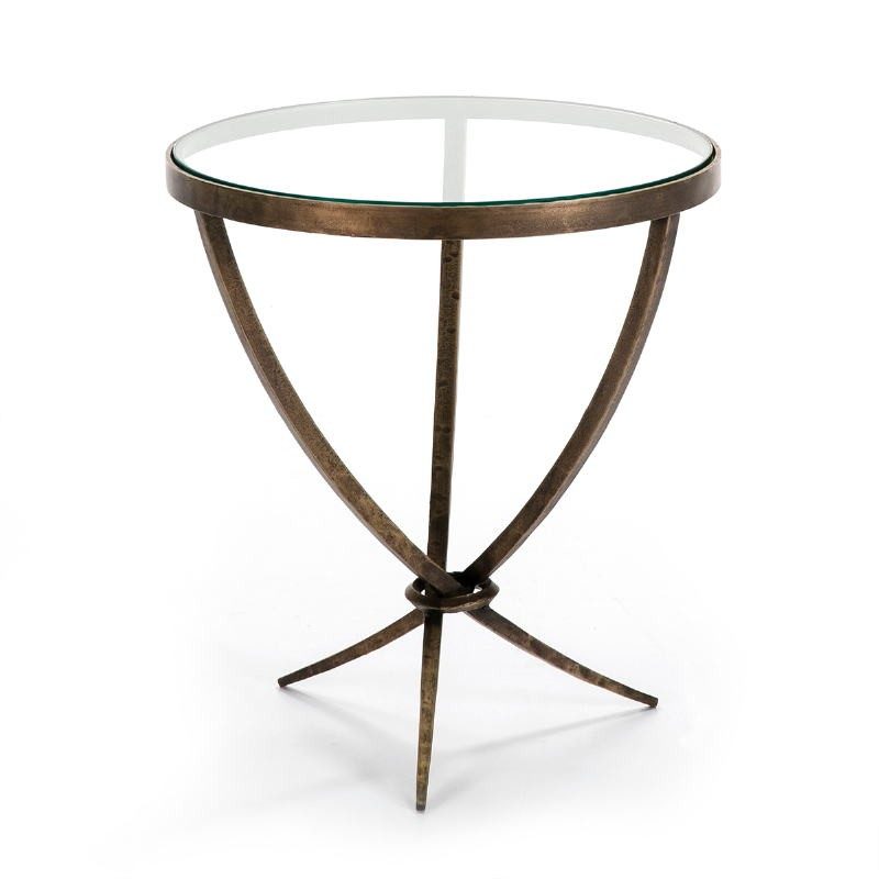 Side Table 51X51X56 Glass Metal Golden Antique