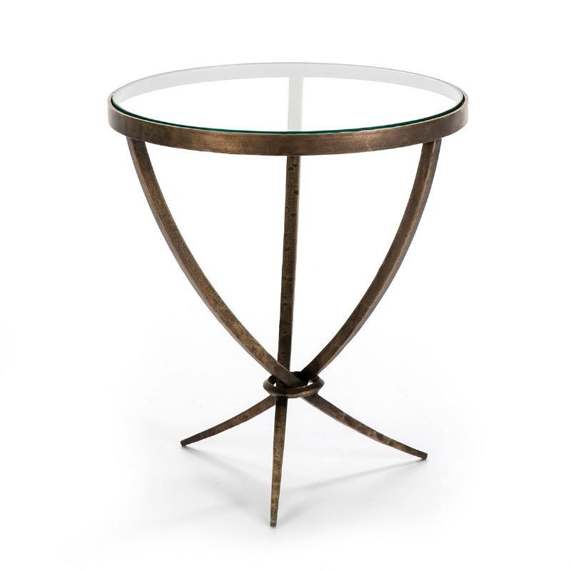 Table d'appoint, bout de canapé, bout de canapé 51x51x56 Verre Métal Doré Antique
