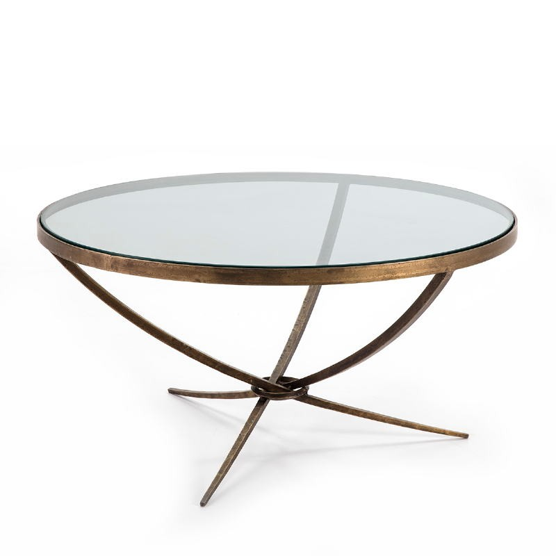 Coffee Table 92X92X47 Glass Metal Golden Antique - image 51466