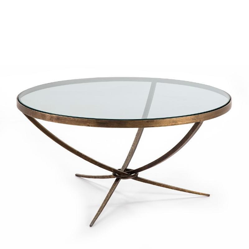 Table basse 92x92x47 Verre Métal Doré Antique - image 51466