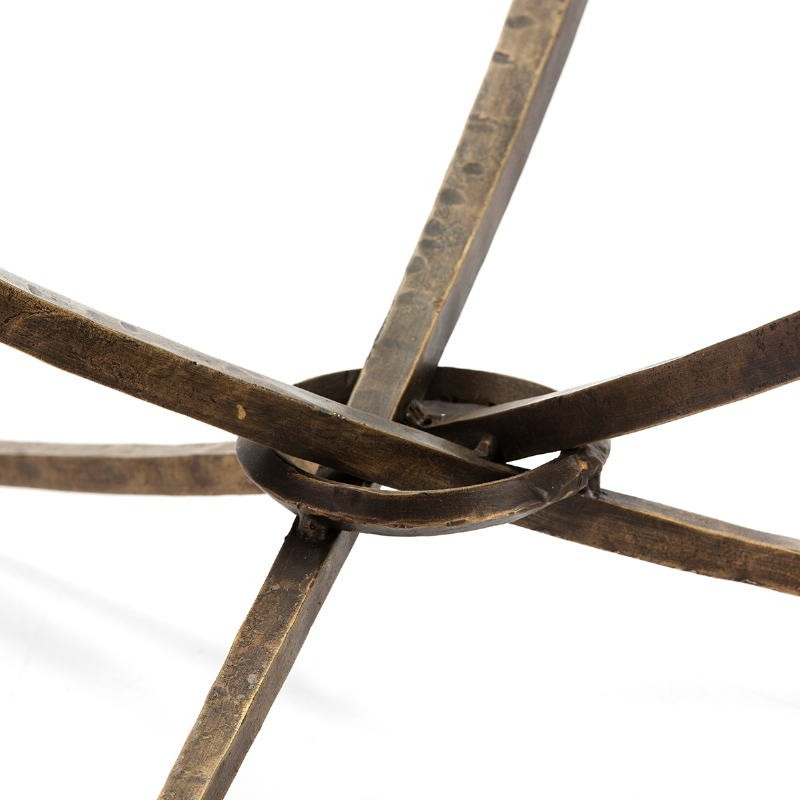 Table basse 92x92x47 Verre Métal Doré Antique - image 51469