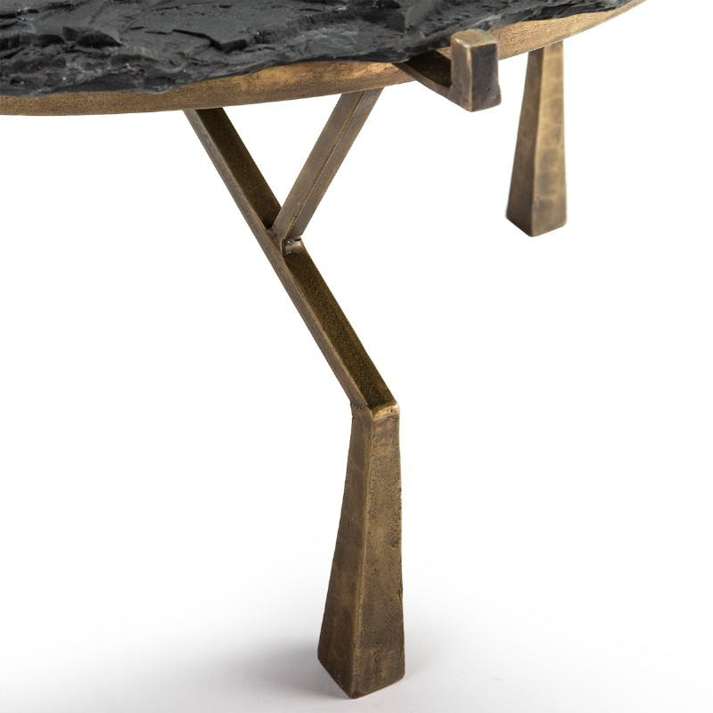 Coffee Table 95X95X41 Stone Black Metal Golden Antique - image 51477