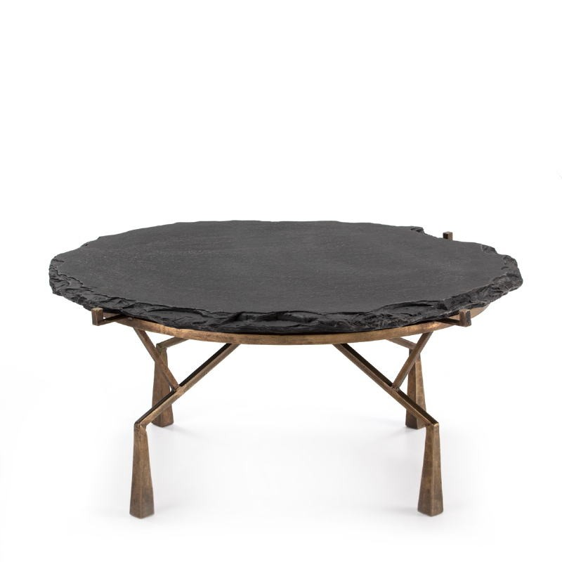 Coffee Table 95X95X41 Stone Black Metal Golden Antique - image 51478