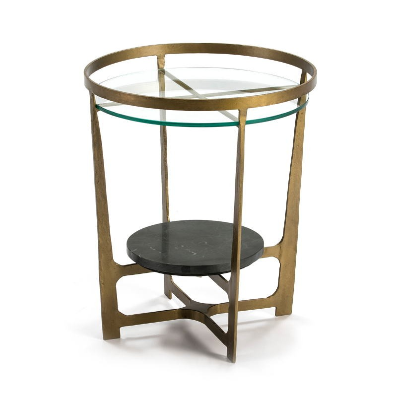 Side Table 51X51X61 Glass Metal Golden Stone Black - image 51491