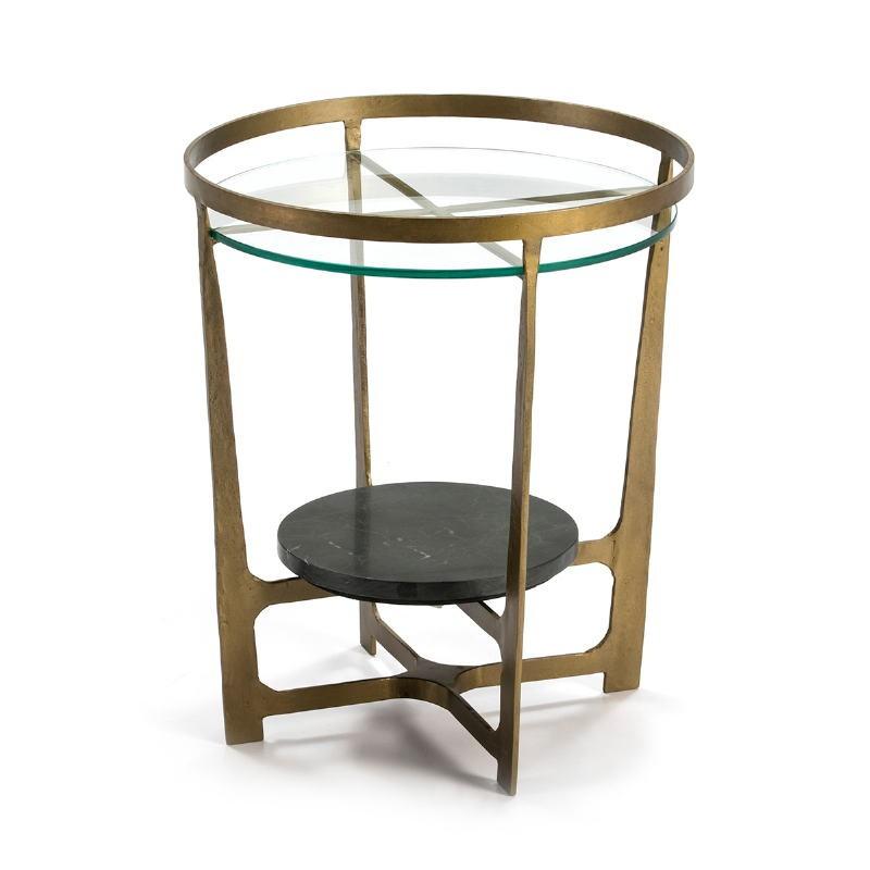 Table d'appoint, bout de canapé, bout de canapé 51x51x61 Verre Métal Doré Pierre Noir - image 51491