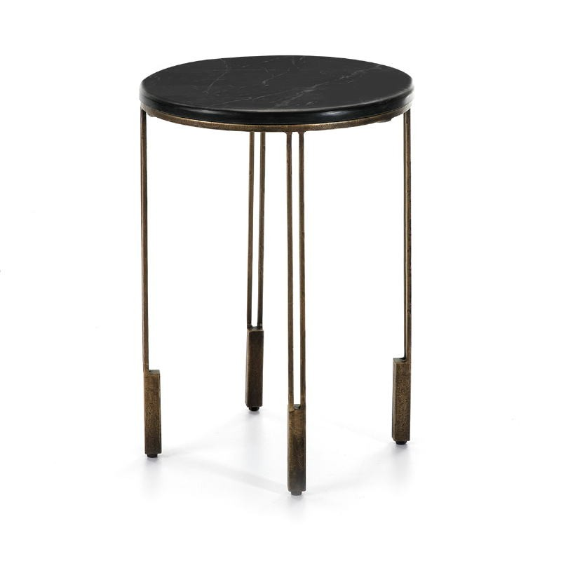 Side Table 41X41X59 Metal Golden Stone Black - image 51494