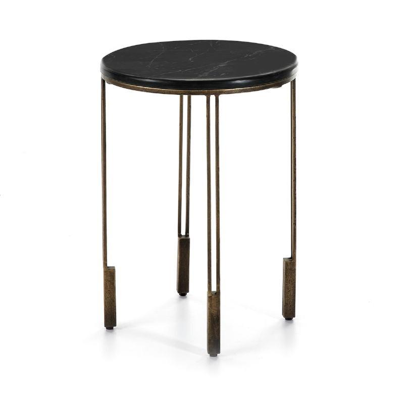 Table d'appoint, bout de canapé, bout de canapé 41x41x59 Métal Doré Pierre Noir
