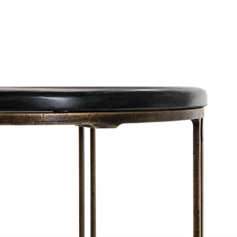 Table d'appoint, bout de canapé, bout de canapé 41x41x59 Métal Doré Pierre Noir - image 51496