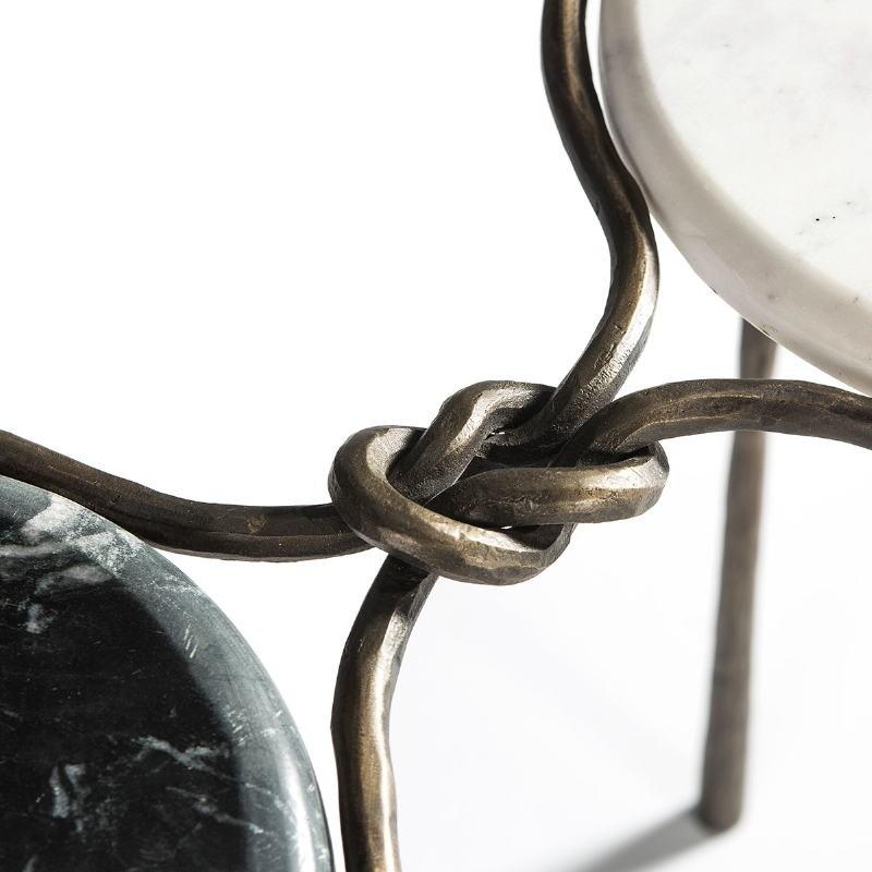 Table d'appoint, bout de canapé 68x32x62 Marbre Blanc Noir Fer Forgé Doré - image 51504