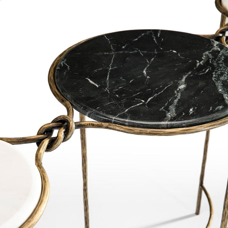 Console 127X41X77 Marble White Black Wrought Iron Golden - image 51508