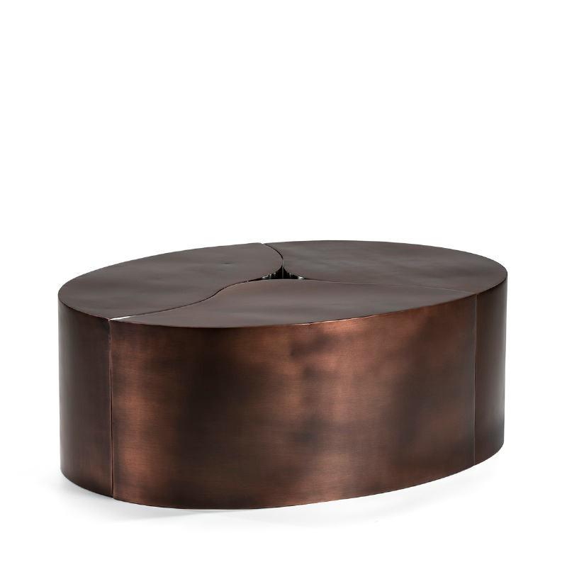 Kaffeetisch 103X76X35 Metall Kupfer Antiquität/Silber