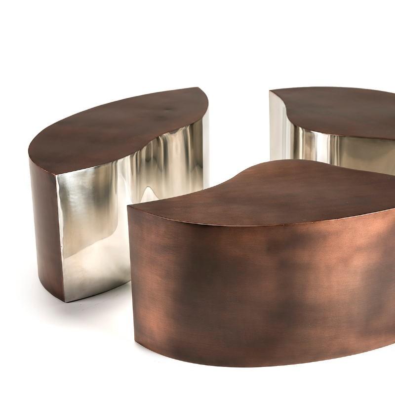Table basse 103x76x35 Métal Cuivre Antique Argent - image 51519