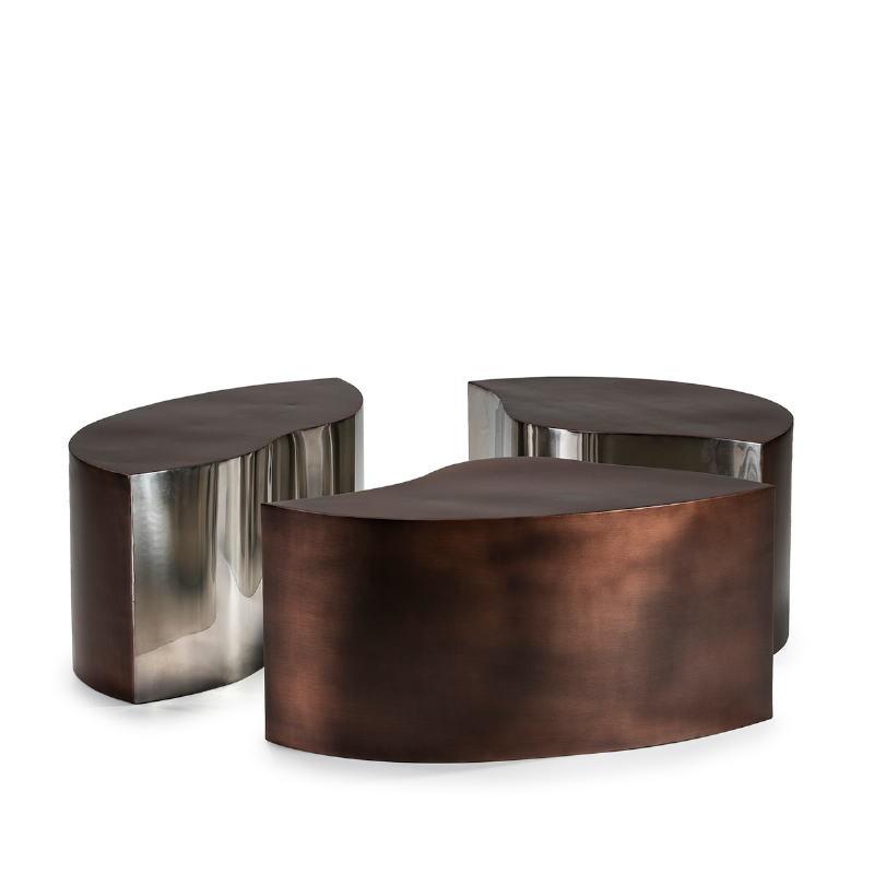 Kaffeetisch 103X76X35 Metall Kupfer Antiquität/Silber - image 51521