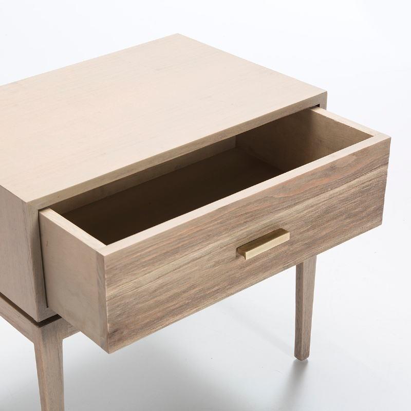 Nachttisch 1 Schublade 60X40X55 Holz Grau - image 51524
