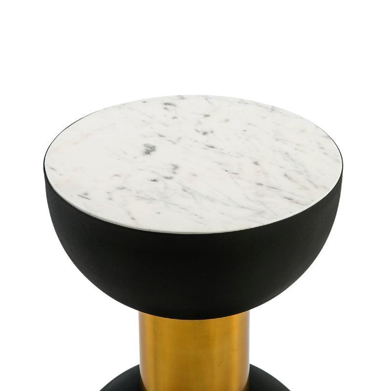 Table d'appoint, bout de canapé, bout de canapé 32x32x43 Marbre Blanc Métal Doré Noir - image 51529