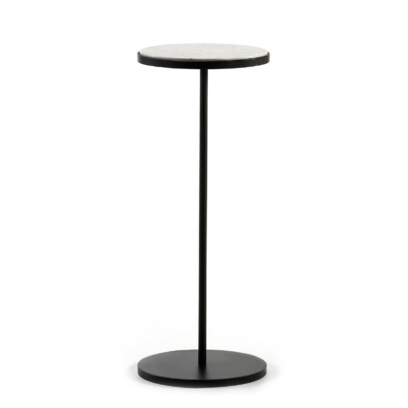 Side Table 33X33X83 Marble White Metal Black - image 51542