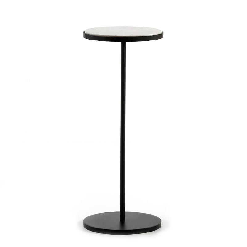 Table d'appoint, bout de canapé, bout de canapé 33x33x83 Marbre Blanc Métal Noir - image 51542