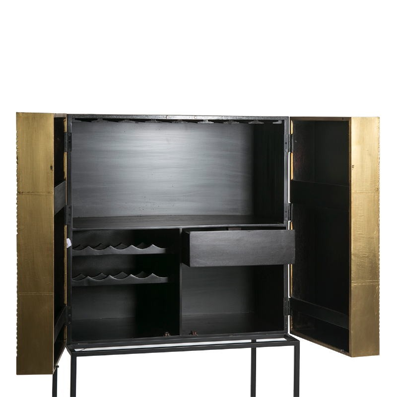 Mueble Bar 91X56X152 Madera Dorado Negro Metal Negro - image 51552